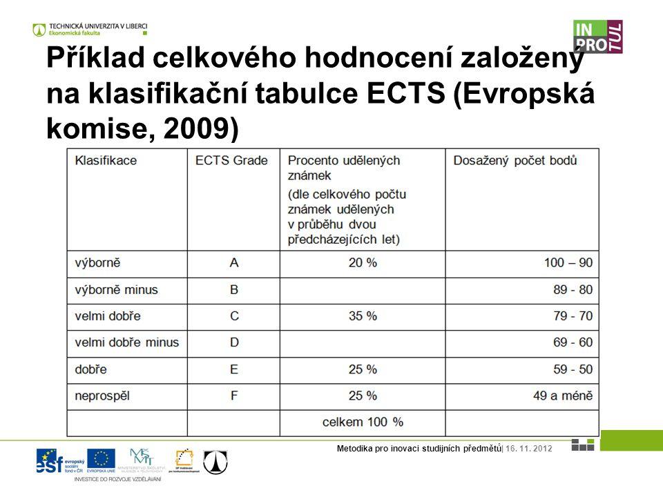 Metodika pro inovaci studijních předmětů| 16. 11. 2012 Příklad celkového hodnocení založený na klasifikační tabulce ECTS (Evropská komise, 2009)