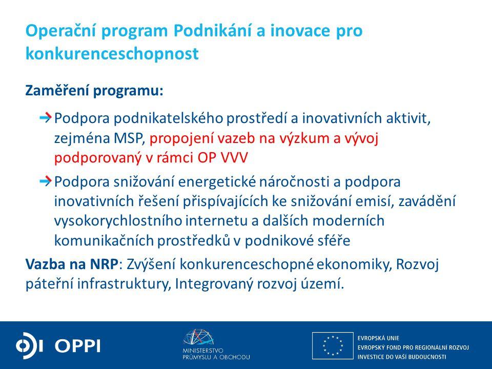 Operační program Podnikání a inovace pro konkurenceschopnost Zaměření programu: Podpora podnikatelského prostředí a inovativních aktivit, zejména MSP,