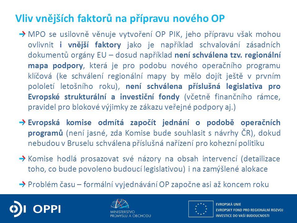 MPO se usilovně věnuje vytvoření OP PIK, jeho přípravu však mohou ovlivnit i vnější faktory jako je například schvalování zásadních dokumentů orgány E