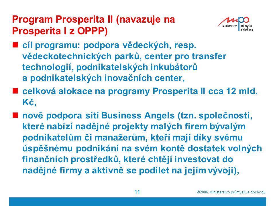  2006  Ministerstvo průmyslu a obchodu 11 Program Prosperita II (navazuje na Prosperita I z OPPP) cíl programu: podpora vědeckých, resp. vědeckotec