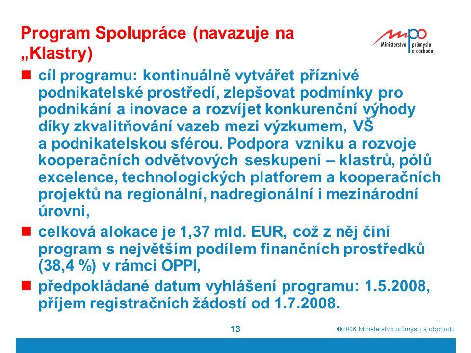 """ 2006  Ministerstvo průmyslu a obchodu 13 Program Spolupráce (navazuje na """"Klastry) cíl programu: kontinuálně vytvářet příznivé podnikatelské prost"""