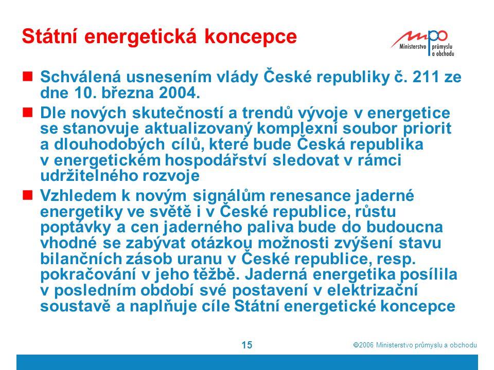  2006  Ministerstvo průmyslu a obchodu 15 Státní energetická koncepce Schválená usnesením vlády České republiky č. 211 ze dne 10. března 2004. Dle
