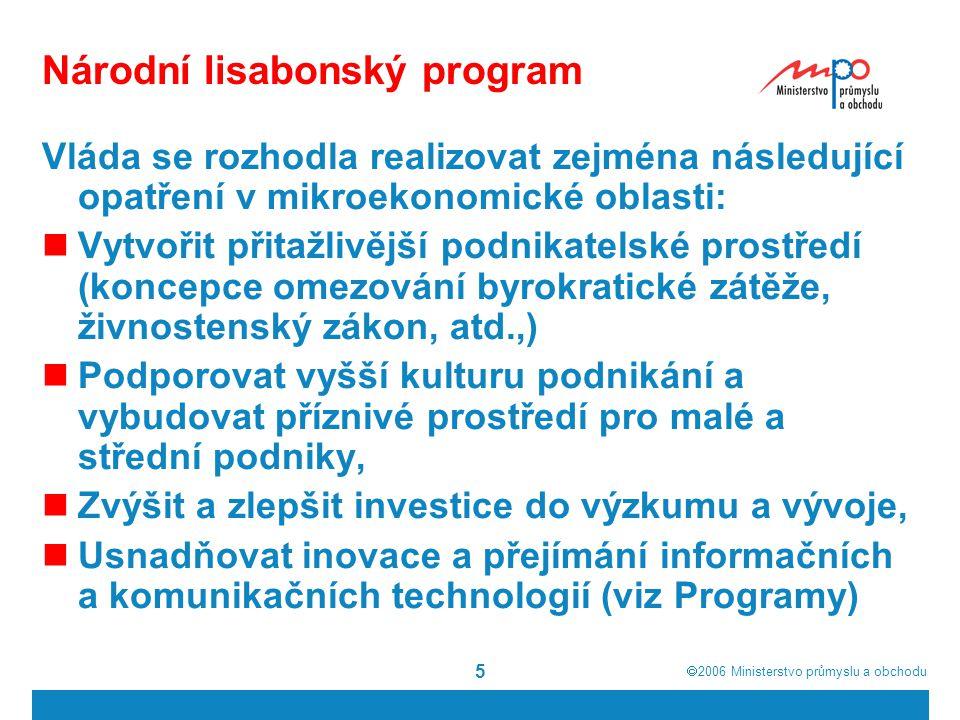  2006  Ministerstvo průmyslu a obchodu 5 Národní lisabonský program Vláda se rozhodla realizovat zejména následující opatření v mikroekonomické obl