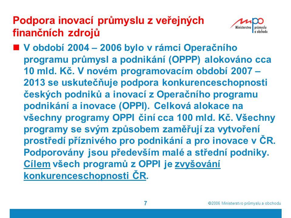  2006  Ministerstvo průmyslu a obchodu 7 Podpora inovací průmyslu z veřejných finančních zdrojů V období 2004 – 2006 bylo v rámci Operačního progra