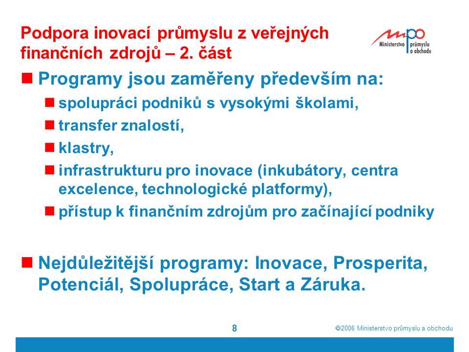  2006  Ministerstvo průmyslu a obchodu 8 Podpora inovací průmyslu z veřejných finančních zdrojů – 2. část Programy jsou zaměřeny především na: spol