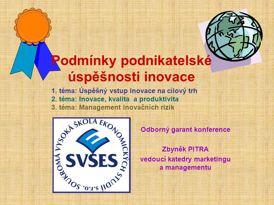 Odborný garant konference Zbyněk PITRA vedoucí katedry marketingu a managementu Podmínky podnikatelské úspěšnosti inovace 1. téma: Úspěšný vstup Inova