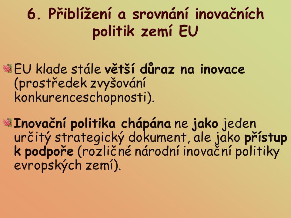6. Přiblížení a srovnání inovačních politik zemí EU EU klade stále větší důraz na inovace (prostředek zvyšování konkurenceschopnosti). Inovační politi