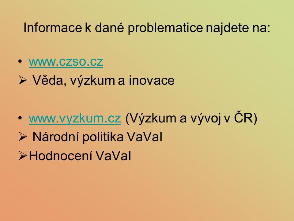 Informace k dané problematice najdete na: www.czso.cz  Věda, výzkum a inovace www.vyzkum.cz (Výzkum a vývoj v ČR)www.vyzkum.cz  Národní politika VaV