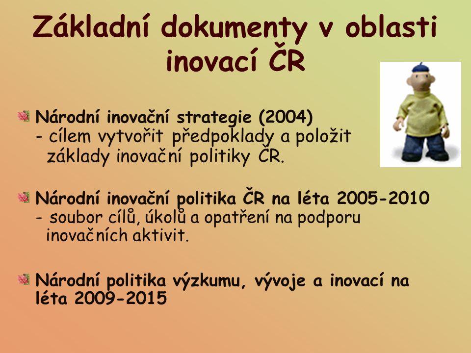 Základní dokumenty v oblasti inovací ČR Národní inovační strategie (2004) - cílem vytvořit předpoklady a položit základy inovační politiky ČR. Národní