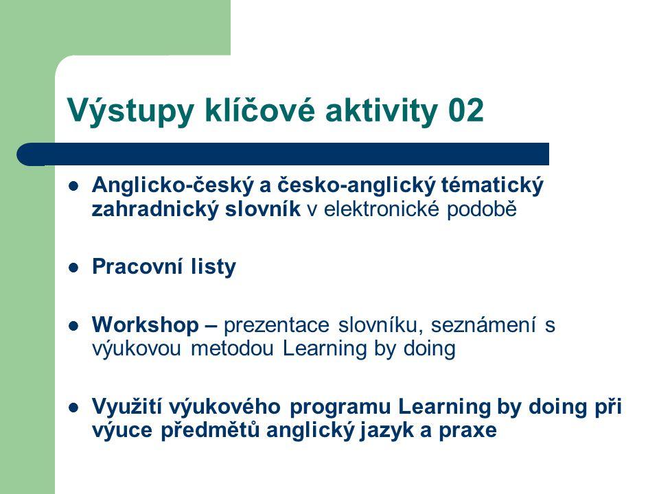 Výstupy klíčové aktivity 02 Anglicko-český a česko-anglický tématický zahradnický slovník v elektronické podobě Pracovní listy Workshop – prezentace s
