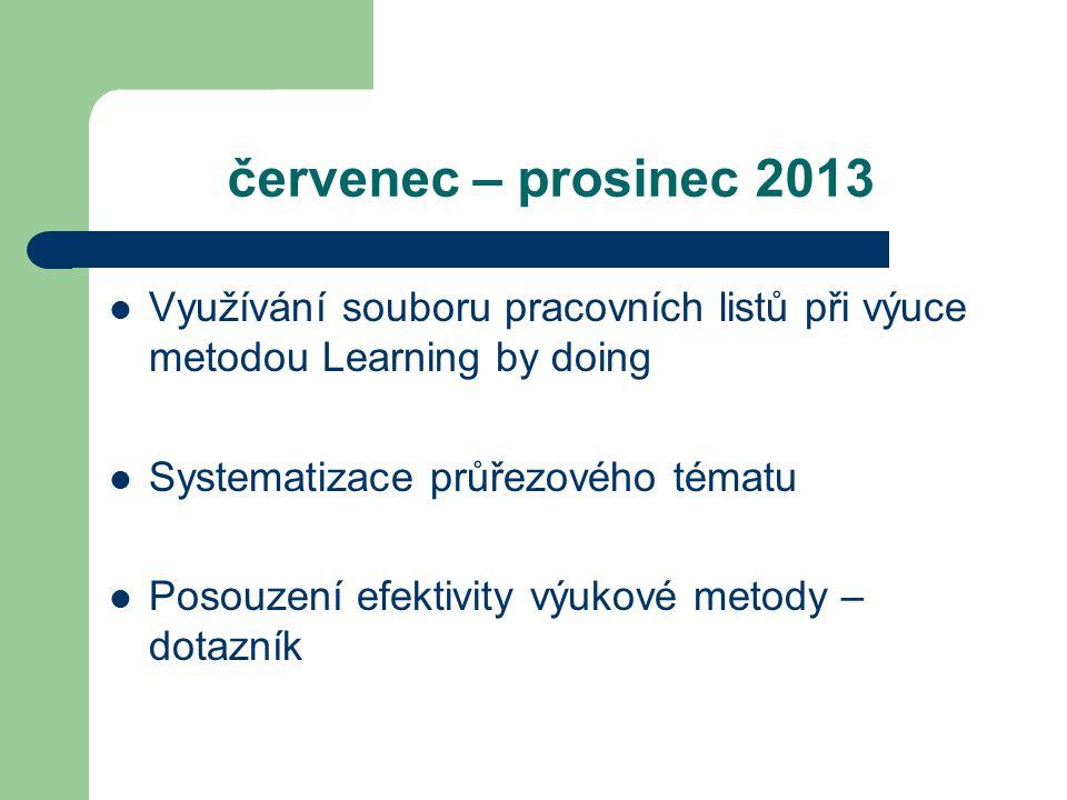 červenec – prosinec 2013 Využívání souboru pracovních listů při výuce metodou Learning by doing Systematizace průřezového tématu Posouzení efektivity výukové metody – dotazník