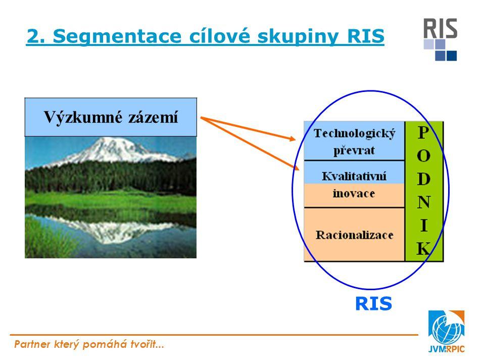 Partner který pomáhá tvořit... 2. Segmentace cílové skupiny RIS Výzkumné zázemí RIS