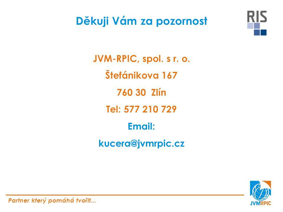 Partner který pomáhá tvořit... Děkuji Vám za pozornost JVM-RPIC, spol.