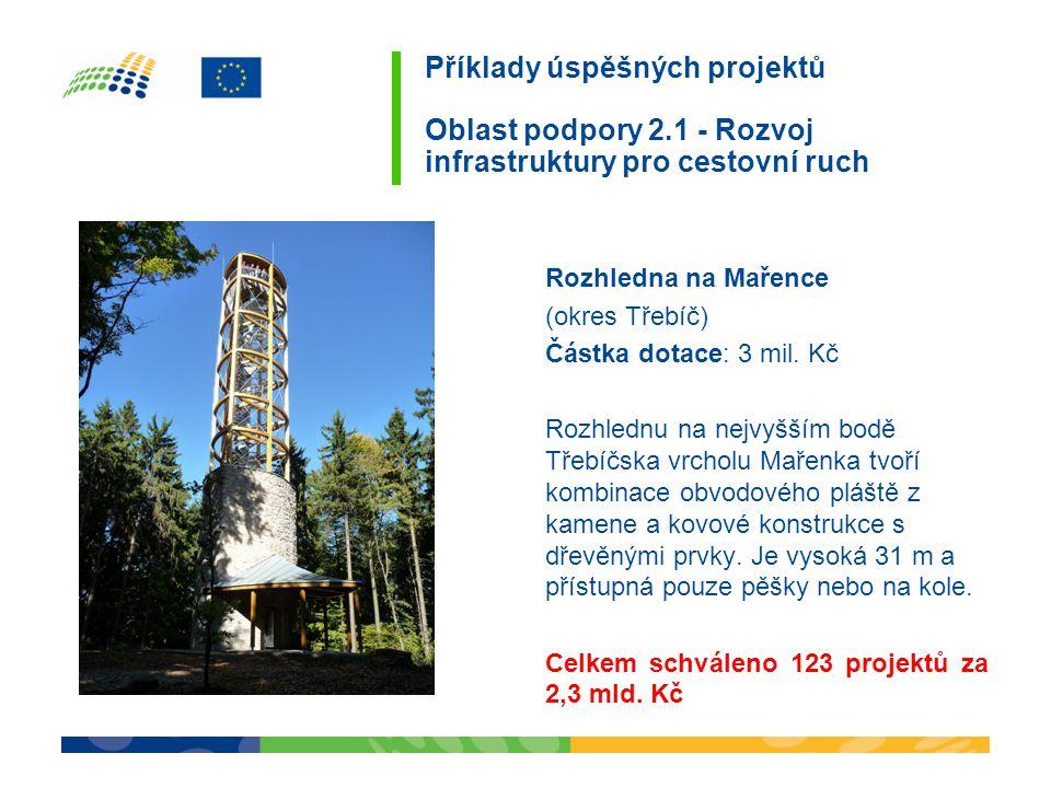 Příklady úspěšných projektů Oblast podpory 2.1 - Rozvoj infrastruktury pro cestovní ruch Rozhledna na Mařence (okres Třebíč) Částka dotace: 3 mil. Kč