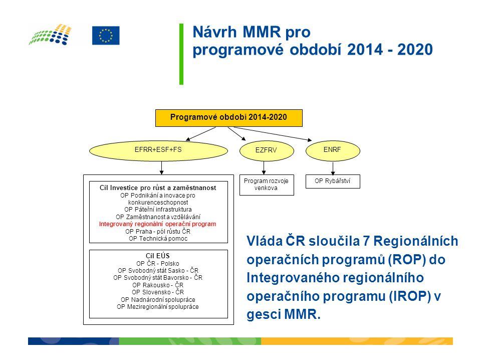 Návrh MMR pro programové období 2014 - 2020 Programové období 2014-2020 EFRR+ESF+FS EZFRV ENRF Program rozvoje venkova OP Rybářství Cíl Investice pro