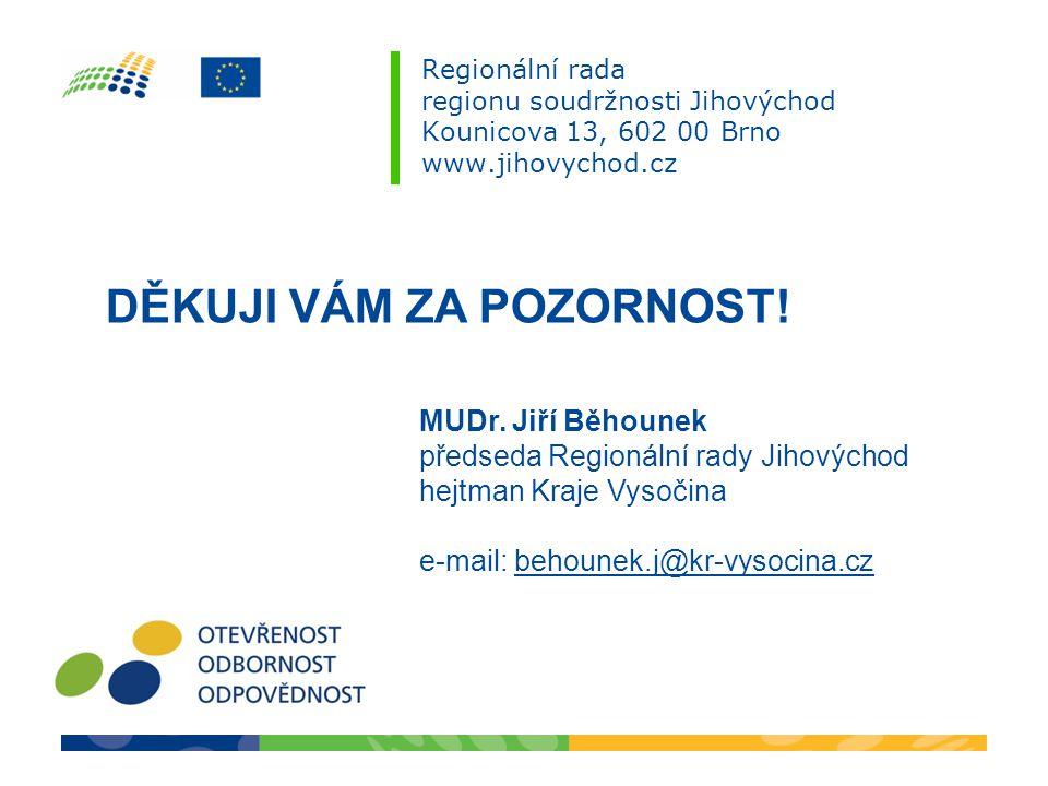 Regionální rada regionu soudržnosti Jihovýchod Kounicova 13, 602 00 Brno www.jihovychod.cz DĚKUJI VÁM ZA POZORNOST! MUDr. Jiří Běhounek předseda Regio