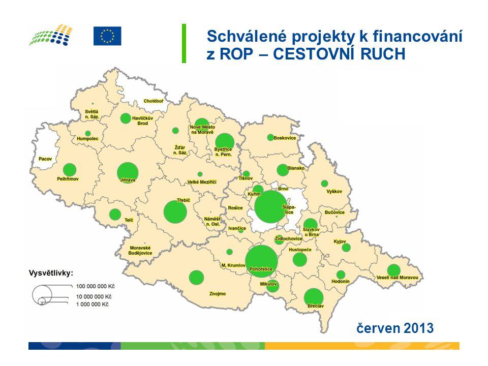 Schválené projekty k financování z ROP – ROZVOJ MĚST A OBCÍ červen 2013