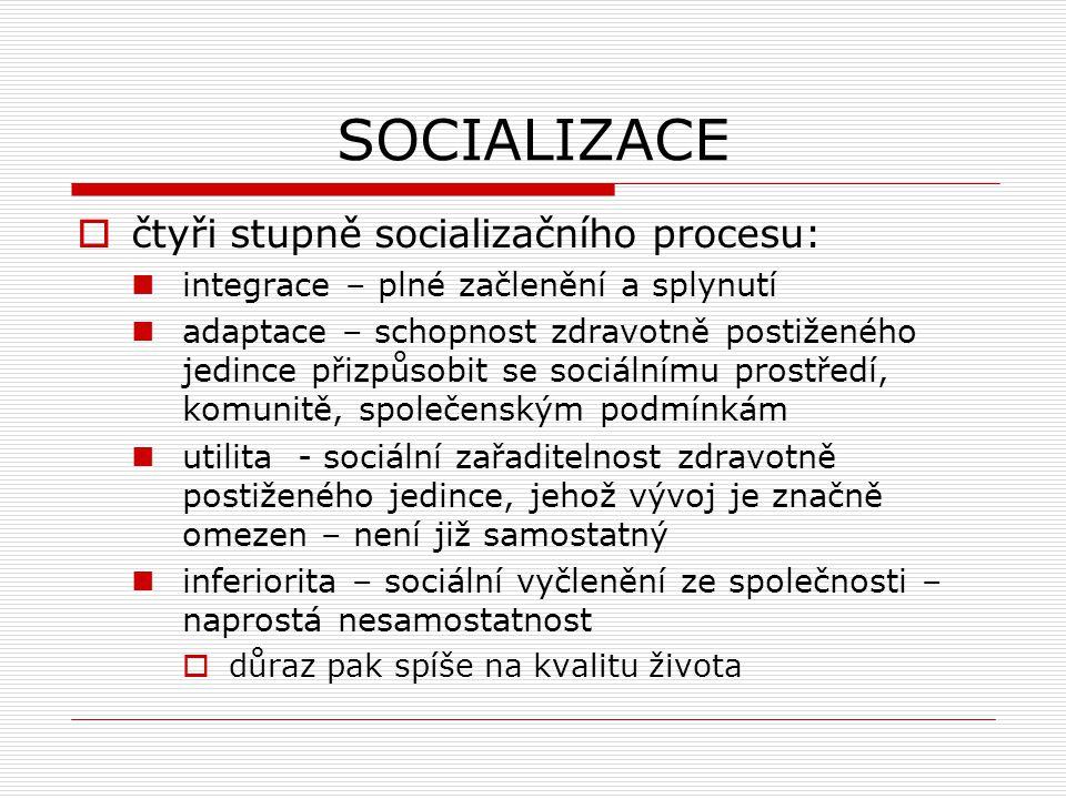 SOCIALIZACE  čtyři stupně socializačního procesu: integrace – plné začlenění a splynutí adaptace – schopnost zdravotně postiženého jedince přizpůsobi