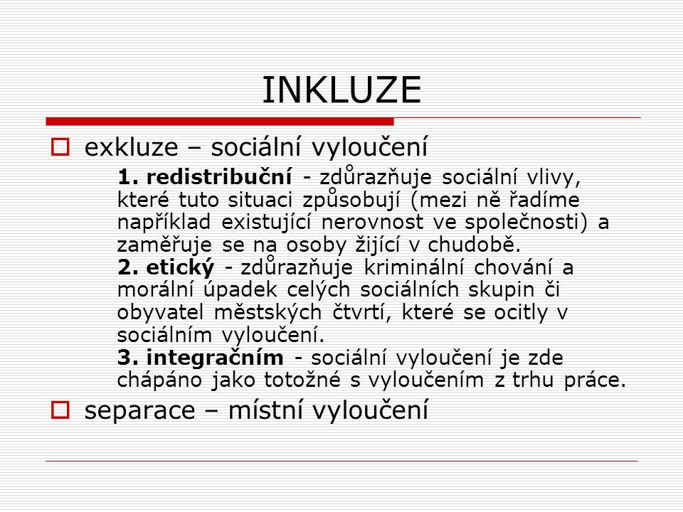 INKLUZE  exkluze – sociální vyloučení 1. redistribuční - zdůrazňuje sociální vlivy, které tuto situaci způsobují (mezi ně řadíme například existující