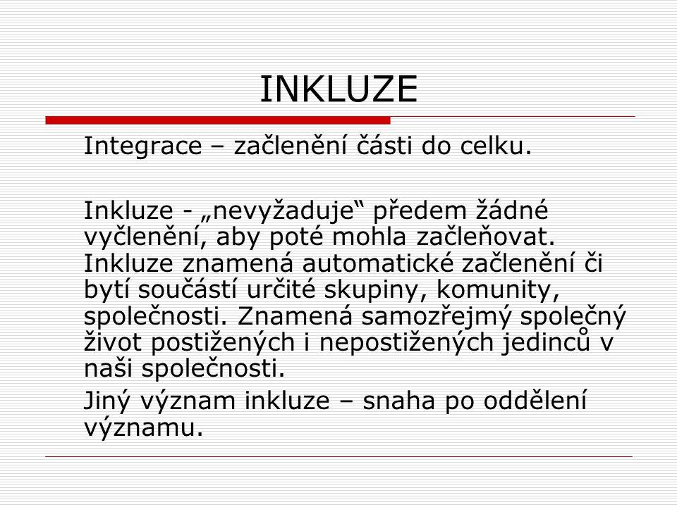 """INKLUZE Integrace – začlenění části do celku. Inkluze - """"nevyžaduje"""" předem žádné vyčlenění, aby poté mohla začleňovat. Inkluze znamená automatické za"""