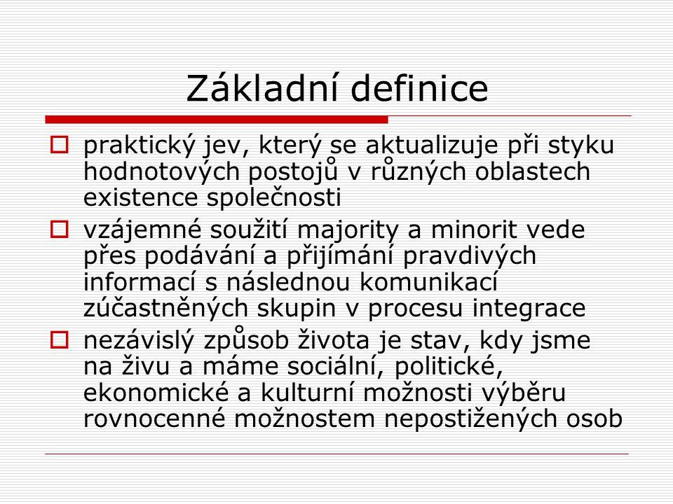 Základní definice  praktický jev, který se aktualizuje při styku hodnotových postojů v různých oblastech existence společnosti  vzájemné soužití maj