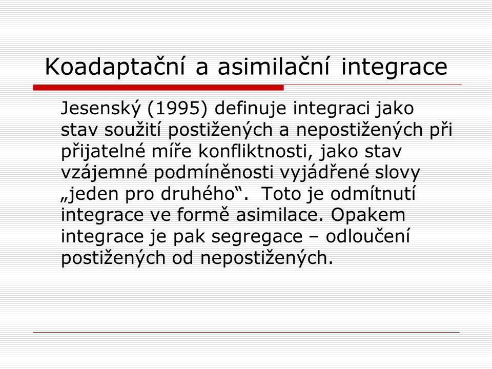 Koadaptační a asimilační integrace Jesenský (1995) definuje integraci jako stav soužití postižených a nepostižených při přijatelné míře konfliktnosti,