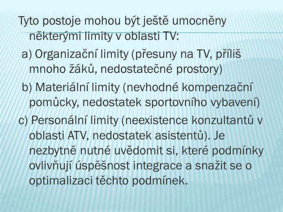 Tyto postoje mohou být ještě umocněny některými limity v oblasti TV: a) Organizační limity (přesuny na TV, příliš mnoho žáků, nedostatečné prostory) b