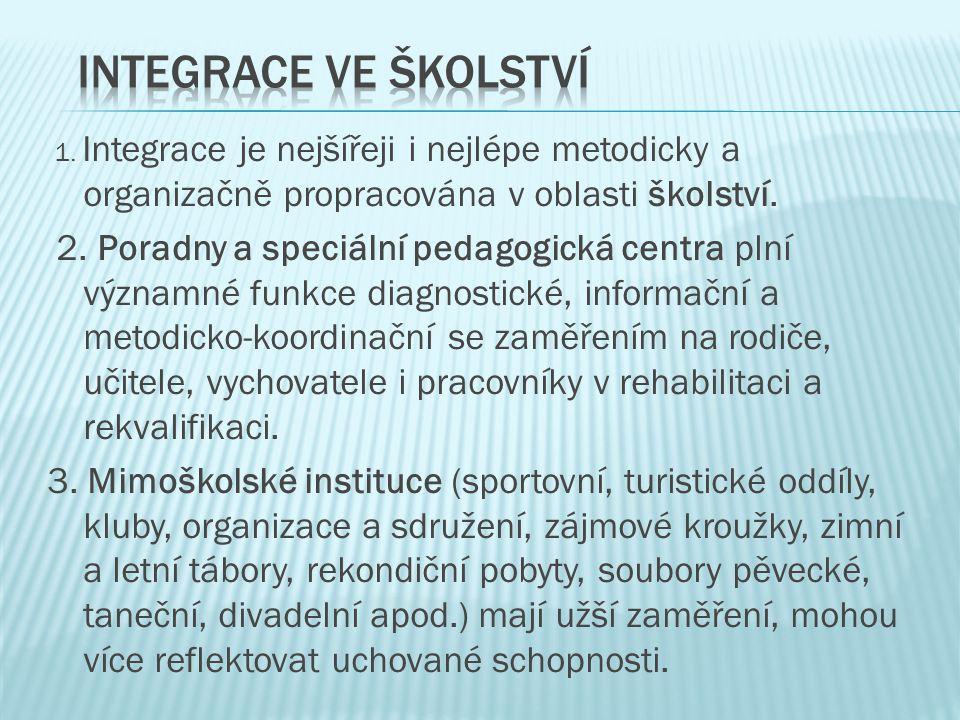 1. Integrace je nejšířeji i nejlépe metodicky a organizačně propracována v oblasti školství. 2. Poradny a speciální pedagogická centra plní významné f
