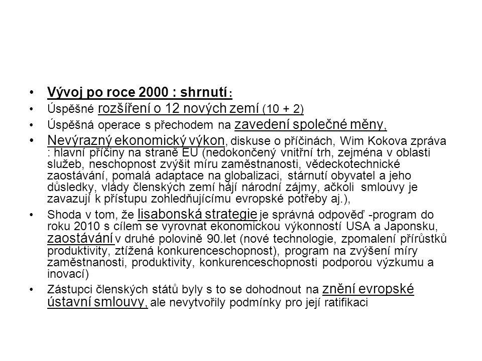 Vývoj po roce 2000 : shrnutí : Úspěšné rozšíření o 12 nových zemí (10 + 2) Úspěšná operace s přechodem na zavedení společné měny, Nevýrazný ekonomický výkon, diskuse o příčinách, Wim Kokova zpráva : hlavní příčiny na straně EU (nedokončený vnitřní trh, zejména v oblasti služeb, neschopnost zvýšit míru zaměstnanosti, vědeckotechnické zaostávání, pomalá adaptace na globalizaci, stárnutí obyvatel a jeho důsledky, vlády členských zemí hájí národní zájmy, ačkoli smlouvy je zavazují k přístupu zohledňujícímu evropské potřeby aj.), Shoda v tom, že lisabonská strategie je správná odpověď -program do roku 2010 s cílem se vyrovnat ekonomickou výkonností USA a Japonsku, zaostávání v druhé polovině 90.let (nové technologie, zpomalení přírůstků produktivity, ztížená konkurenceschopnost), program na zvýšení míry zaměstnanosti, produktivity, konkurenceschopnosti podporou výzkumu a inovací) Zástupci členských států byly s to se dohodnout na znění evropské ústavní smlouvy, ale nevytvořily podmínky pro její ratifikaci