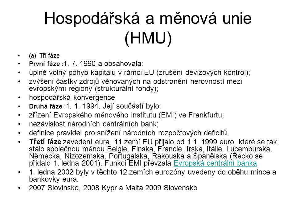 Hospodářská a měnová unie (HMU) (a) Tři fáze První fáze : 1.