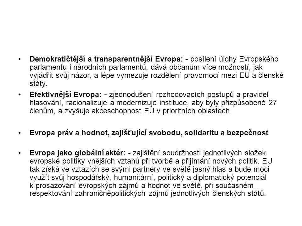 Demokratičtější a transparentnější Evropa: - posílení úlohy Evropského parlamentu i národních parlamentů, dává občanům více možností, jak vyjádřit svůj názor, a lépe vymezuje rozdělení pravomocí mezi EU a členské státy.