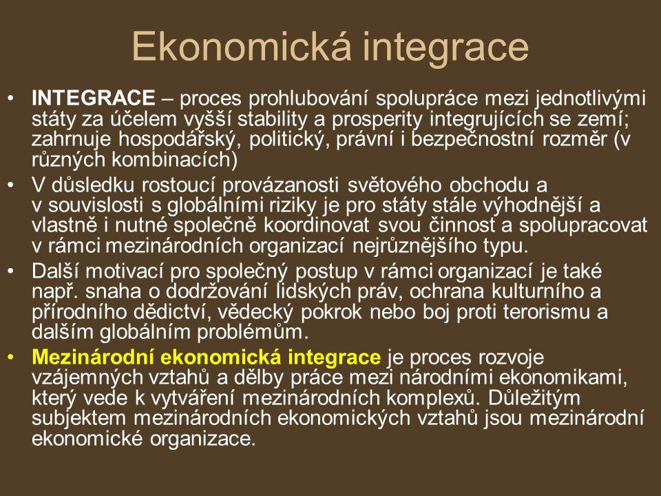 INTEGRACE – proces prohlubování spolupráce mezi jednotlivými státy za účelem vyšší stability a prosperity integrujících se zemí; zahrnuje hospodářský,