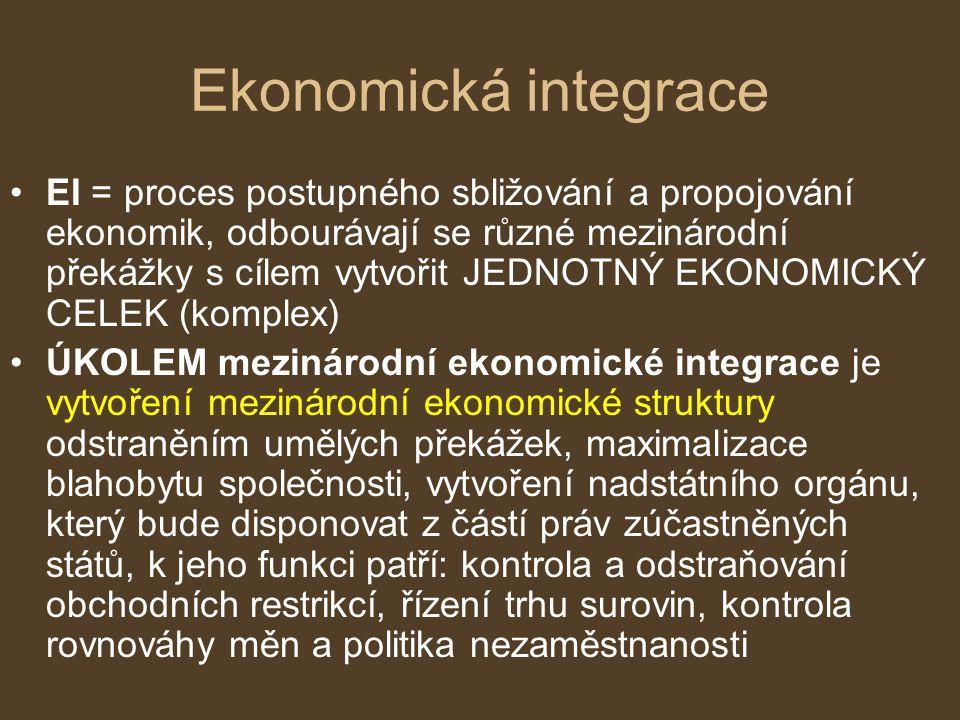 Ekonomická integrace EI = proces postupného sbližování a propojování ekonomik, odbourávají se různé mezinárodní překážky s cílem vytvořit JEDNOTNÝ EKO