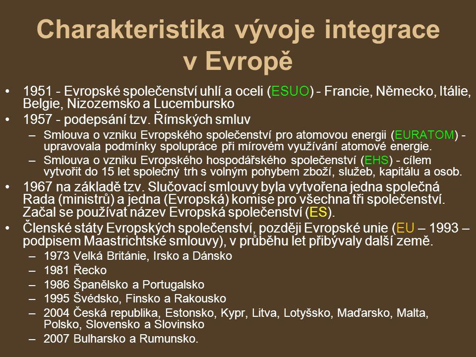 Charakteristika vývoje integrace v Evropě 1951 - Evropské společenství uhlí a oceli (ESUO) - Francie, Německo, Itálie, Belgie, Nizozemsko a Lucembursk