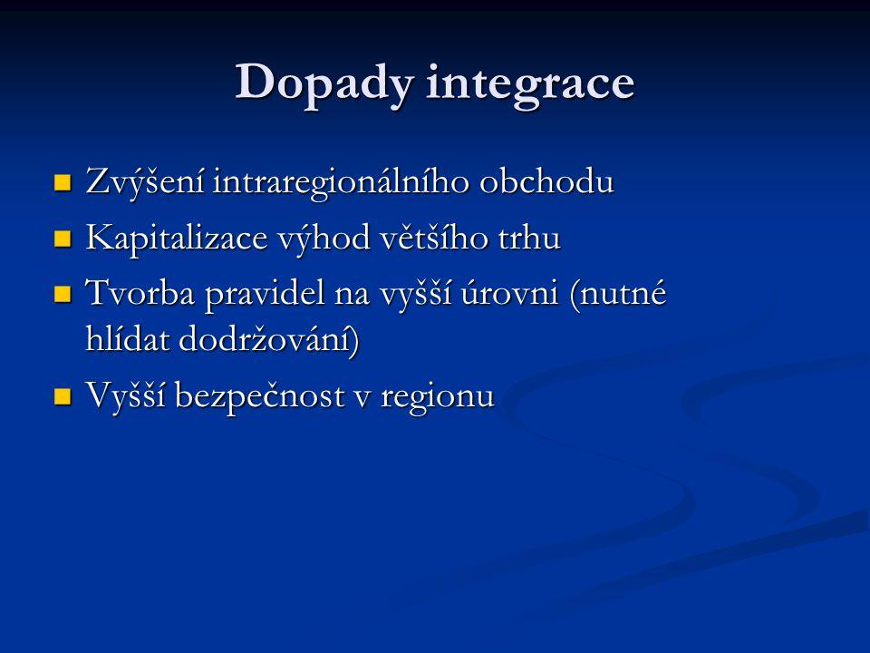 Dopady integrace Zvýšení intraregionálního obchodu Zvýšení intraregionálního obchodu Kapitalizace výhod většího trhu Kapitalizace výhod většího trhu T