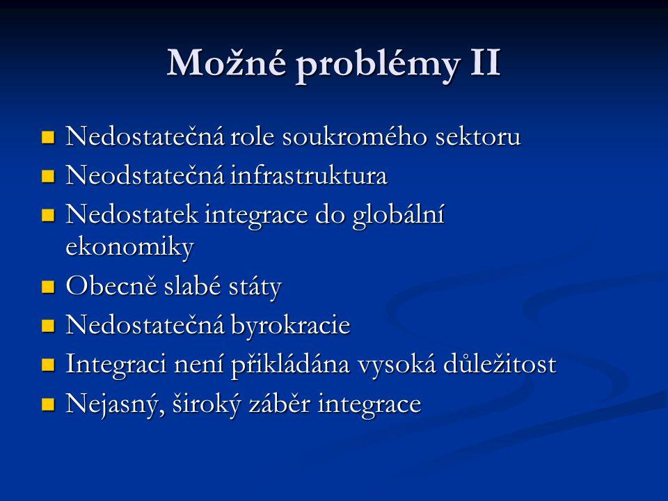 Možné problémy II Nedostatečná role soukromého sektoru Nedostatečná role soukromého sektoru Neodstatečná infrastruktura Neodstatečná infrastruktura Ne