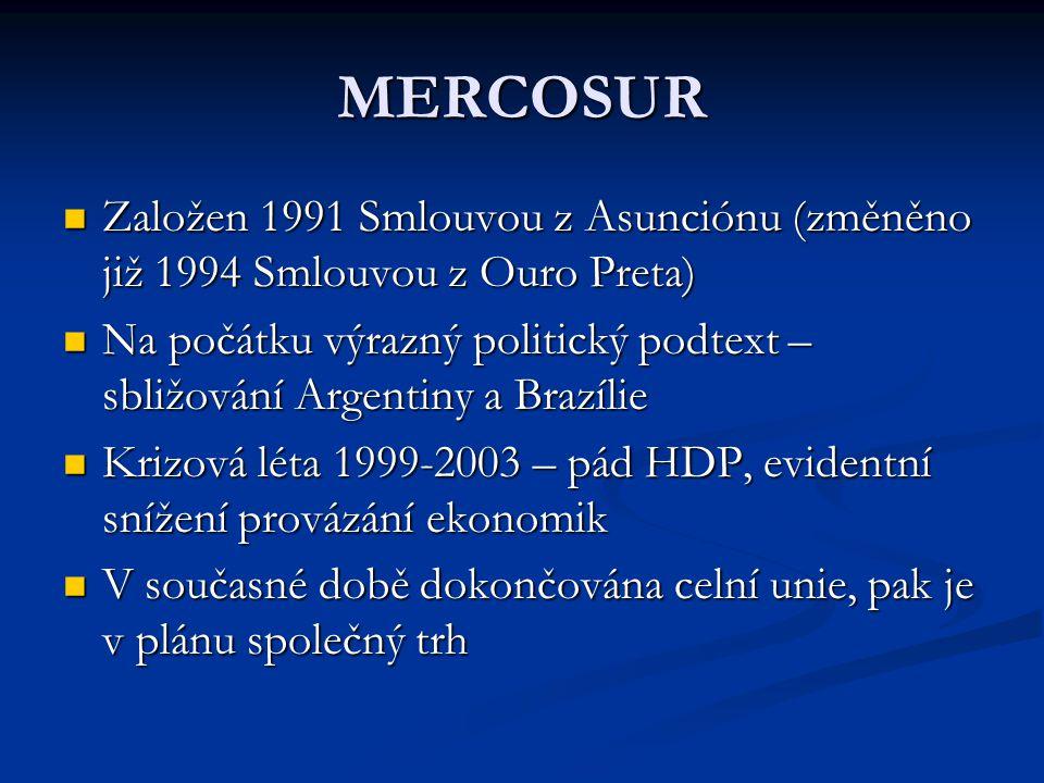 MERCOSUR Založen 1991 Smlouvou z Asunciónu (změněno již 1994 Smlouvou z Ouro Preta) Založen 1991 Smlouvou z Asunciónu (změněno již 1994 Smlouvou z Ouro Preta) Na počátku výrazný politický podtext – sbližování Argentiny a Brazílie Na počátku výrazný politický podtext – sbližování Argentiny a Brazílie Krizová léta 1999-2003 – pád HDP, evidentní snížení provázání ekonomik Krizová léta 1999-2003 – pád HDP, evidentní snížení provázání ekonomik V současné době dokončována celní unie, pak je v plánu společný trh V současné době dokončována celní unie, pak je v plánu společný trh