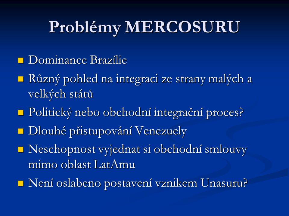 Problémy MERCOSURU Dominance Brazílie Dominance Brazílie Různý pohled na integraci ze strany malých a velkých států Různý pohled na integraci ze strany malých a velkých států Politický nebo obchodní integrační proces.