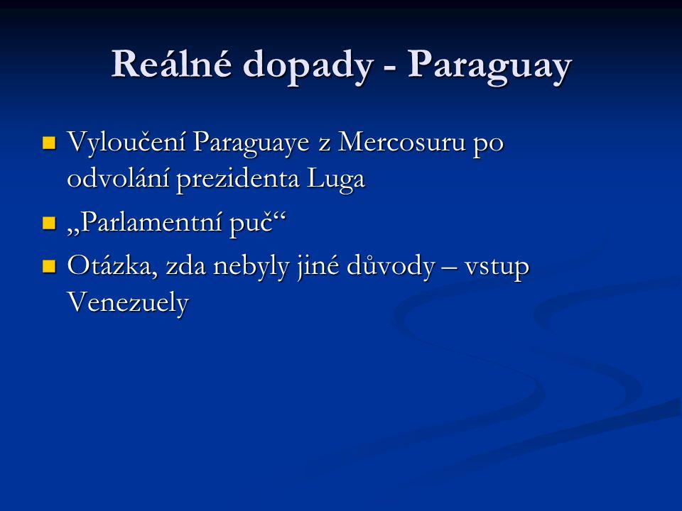 """Reálné dopady - Paraguay Vyloučení Paraguaye z Mercosuru po odvolání prezidenta Luga Vyloučení Paraguaye z Mercosuru po odvolání prezidenta Luga """"Parlamentní puč """"Parlamentní puč Otázka, zda nebyly jiné důvody – vstup Venezuely Otázka, zda nebyly jiné důvody – vstup Venezuely"""