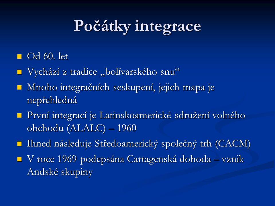 Počátky integrace Od 60. let Od 60.