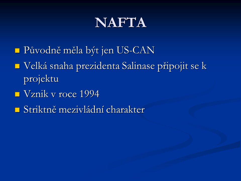 NAFTA Původně měla být jen US-CAN Původně měla být jen US-CAN Velká snaha prezidenta Salinase připojit se k projektu Velká snaha prezidenta Salinase připojit se k projektu Vznik v roce 1994 Vznik v roce 1994 Striktně mezivládní charakter Striktně mezivládní charakter