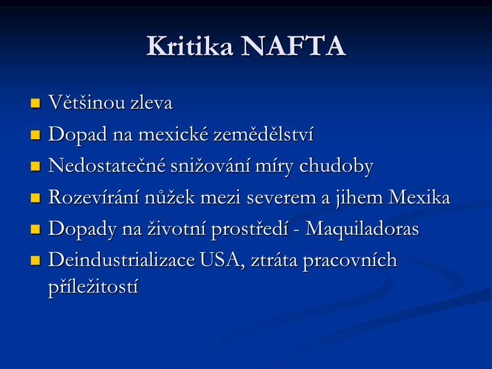 Kritika NAFTA Většinou zleva Většinou zleva Dopad na mexické zemědělství Dopad na mexické zemědělství Nedostatečné snižování míry chudoby Nedostatečné