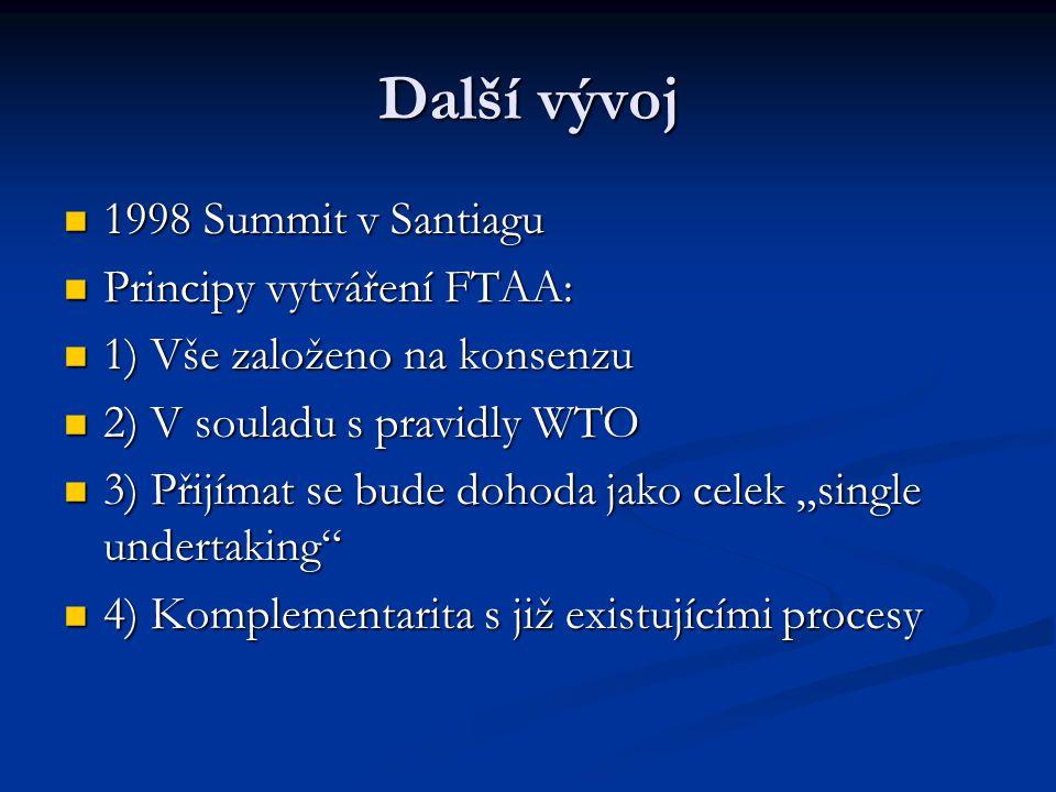 """Další vývoj 1998 Summit v Santiagu 1998 Summit v Santiagu Principy vytváření FTAA: Principy vytváření FTAA: 1) Vše založeno na konsenzu 1) Vše založeno na konsenzu 2) V souladu s pravidly WTO 2) V souladu s pravidly WTO 3) Přijímat se bude dohoda jako celek """"single undertaking 3) Přijímat se bude dohoda jako celek """"single undertaking 4) Komplementarita s již existujícími procesy 4) Komplementarita s již existujícími procesy"""