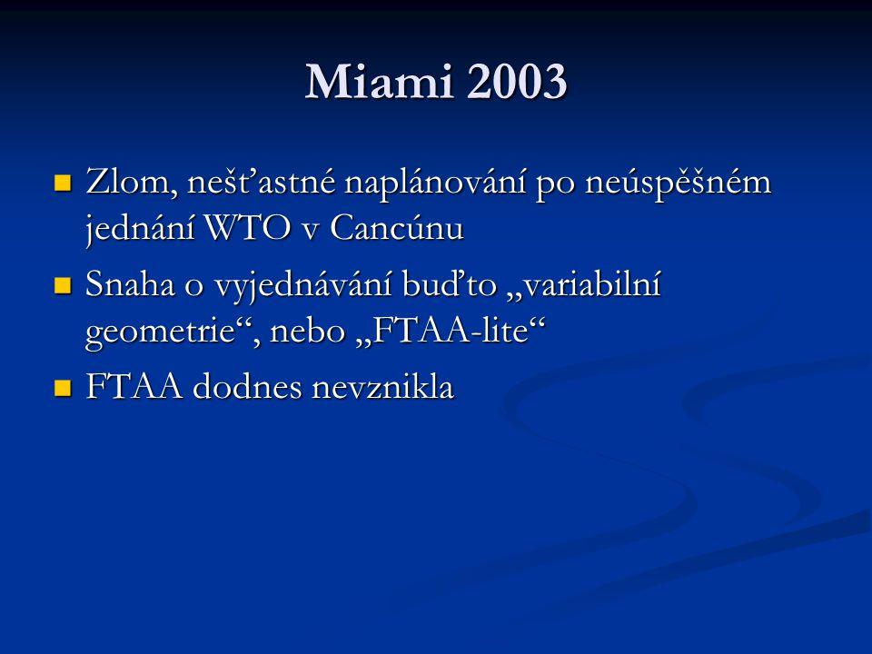"""Miami 2003 Zlom, nešťastné naplánování po neúspěšném jednání WTO v Cancúnu Zlom, nešťastné naplánování po neúspěšném jednání WTO v Cancúnu Snaha o vyjednávání buďto """"variabilní geometrie , nebo """"FTAA-lite Snaha o vyjednávání buďto """"variabilní geometrie , nebo """"FTAA-lite FTAA dodnes nevznikla FTAA dodnes nevznikla"""