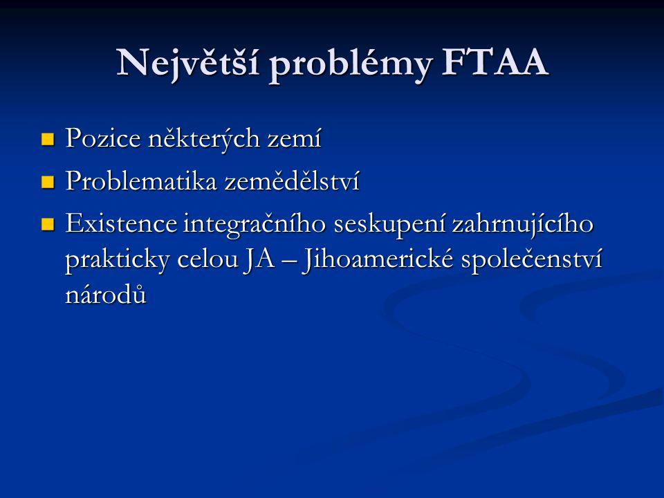 Největší problémy FTAA Pozice některých zemí Pozice některých zemí Problematika zemědělství Problematika zemědělství Existence integračního seskupení