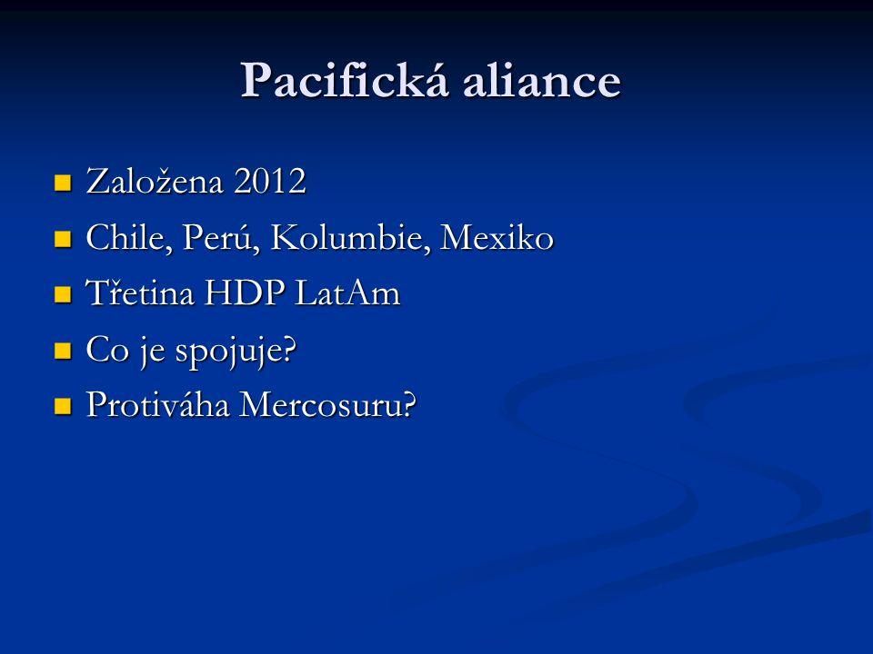 Pacifická aliance Založena 2012 Založena 2012 Chile, Perú, Kolumbie, Mexiko Chile, Perú, Kolumbie, Mexiko Třetina HDP LatAm Třetina HDP LatAm Co je spojuje.