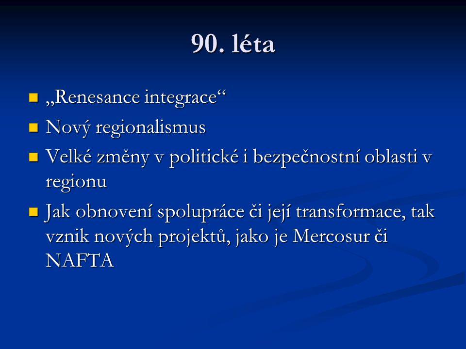 """90. léta """"Renesance integrace"""" """"Renesance integrace"""" Nový regionalismus Nový regionalismus Velké změny v politické i bezpečnostní oblasti v regionu Ve"""