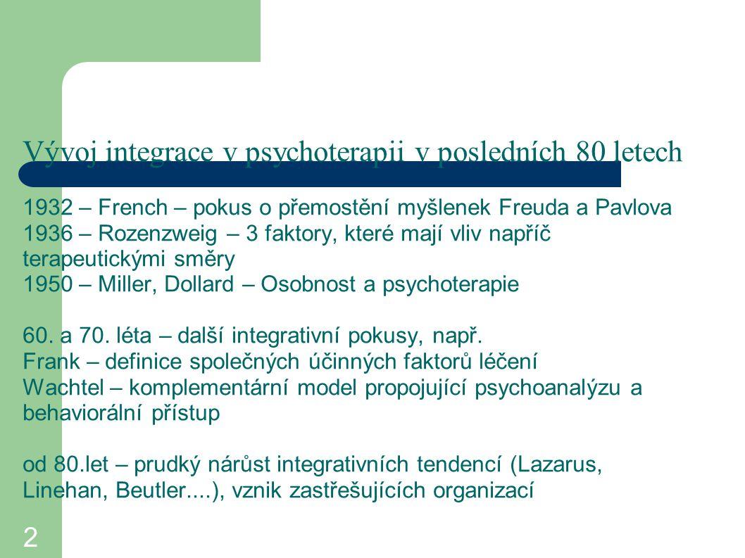 2 Vývoj integrace v psychoterapii v posledních 80 letech 1932 – French – pokus o přemostění myšlenek Freuda a Pavlova 1936 – Rozenzweig – 3 faktory, k