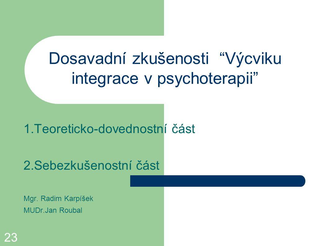 """23 Dosavadní zkušenosti """"Výcviku integrace v psychoterapii"""" 1.Teoreticko-dovednostní část 2.Sebezkušenostní část Mgr. Radim Karpíšek MUDr.Jan Roubal"""