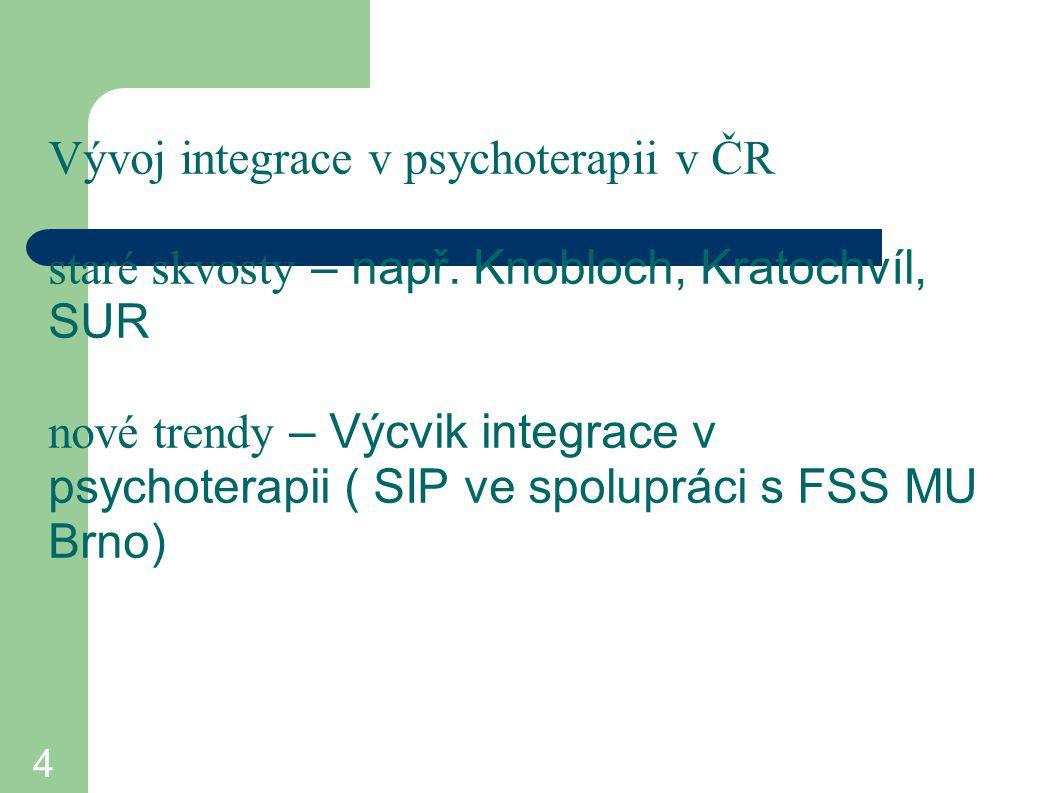 4 Vývoj integrace v psychoterapii v ČR staré skvosty – např. Knobloch, Kratochvíl, SUR nové trendy – Výcvik integrace v psychoterapii ( SIP ve spolupr